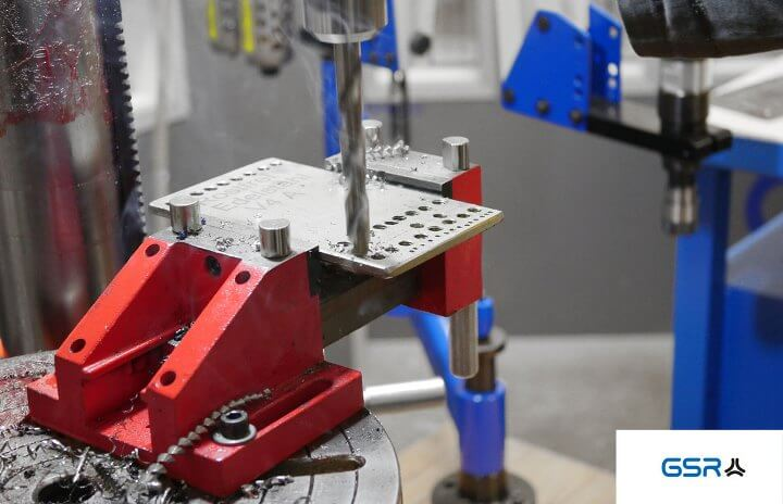 Instructions for drilling in metal: center the drill point, align the twist drill and work with drilling oil or drilling paste