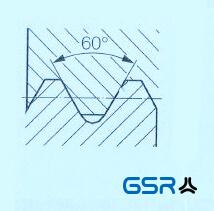 Technische Zeichnung der metrischen ISO-Gewindeart mit 60 Grad Flankendurchmesser