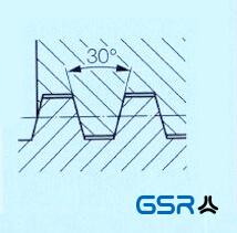 Technische Zeichnung eines Trapezgewindes Tr DIN 103 mit 30 Grad Flankenwinkel