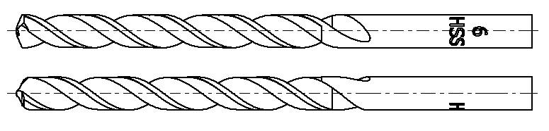 Technische Zeichnung eines Metall-Spiralbohrers in Hochleistungsschnellstahl HSS mit Split-Point Spitze
